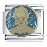 Italian Charms - enamel princess diana stainless steel base italian charm link 9 mm Image.