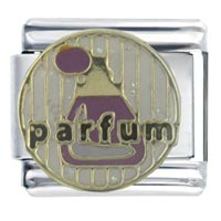 Italian Charms - enamel parfum bottle gift stainless steel base italian charm 9 mm Image.