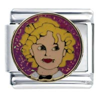 Italian Charms - enamel actress shirley temple italian charm 9 mm link stainless steel Image.
