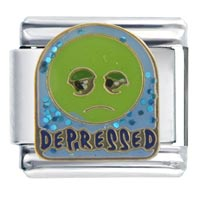 Italian Charms - depressed face italian charms Image.