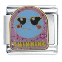Italian Charms - thinking face birthstones jewelry italian charm Image.