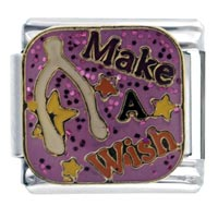 Italian Charms - enamel make wish gliter italian charm 9 mm link stainless steel Image.
