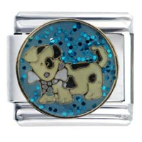 Italian Charms - enamle spotty doggy march italian charm 9 mm link stainless steel Image.