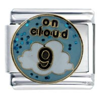 Italian Charms - enamel on cloud 9  glitter italian charm 9 mm link stainless steel Image.