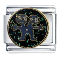 Italian Charms - enamel headed alien glitter italian charm 9 mm link stainless steel Image.