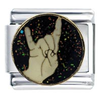 Italian Charms - enamel hand sign rock on italian charm 9 mm link stainless steel Image.