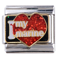 Italian Charms - red heart i love my marine words italian charms Image.
