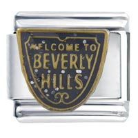 Italian Charms - beverly hills themed travel flags charms italian bracelet italian charm Image.