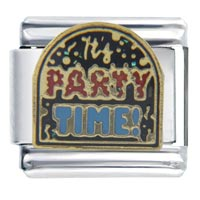 Italian Charms - it' s party time words &  phrases italian charm bracelet Image.