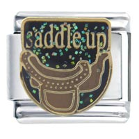 Italian Charms - saddle up words &  phrases italian charm bracelet Image.
