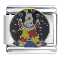 Italian Charms - fun circus clown juggler autumn fashion jewelry italian charm Image.