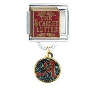 Italian Charms - scarlet letter book art &  italian charm bracelet dangle italian charm Image.