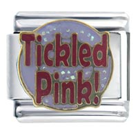 Italian Charms - tickled pink words &  phrases italian charm bracelet Image.