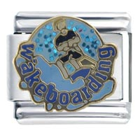 Italian Charms - wakeboarding sports italian charms Image.