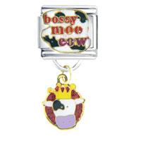 Italian Charms - bossy moo cow hand painted italian charms dangle italian charm Image.