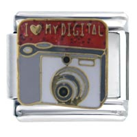 Italian Charms - i heart digital white camera italian charm bracelet Image.