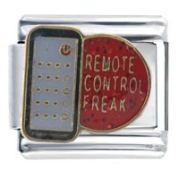 Italian Charms - remote cotrol freak words &  phrases italian charm bracelet Image.