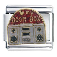 Italian Charms - heart boom box italian charm bracelet Image.