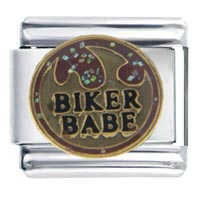 Italian Charms - words biker babe sports italian charm bracelet Image.