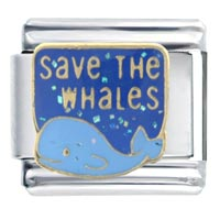 Italian Charms - save whales words &  phrases italian charm bracelet Image.