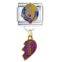 Italian Charms - dangle friends half heart italian charm bracelet dangle italian charm Image.