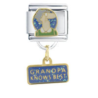 Italian Charms - grandpa knows best dangle italian charms Image.