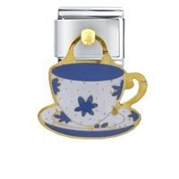 Italian Charms - daisy barista mug italian charms dangle italian charm Image.