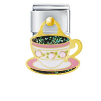 Italian Charms - pink rose barista mug italian charms dangle italian charm Image.