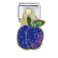 Italian Charms - blue plum italian charms dangle italian charm Image.