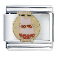 Italian Charms - pig in bikini spring fashion jewelry italian charm Image.