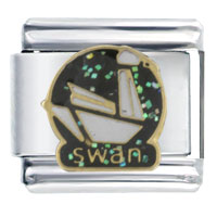 Italian Charms - paper origami swan bith date italian charms Image.