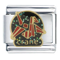 Italian Charms - paper origami crane bith date italian charm Image.