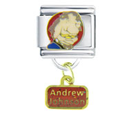 Italian Charms - president andrew johnson famous people italian charm dangle italian charm Image.