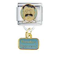 Italian Charms - president theodore roosevelt famous people italian charms dangle italian charm Image.