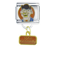 Italian Charms - president john kennedy famous people italian charms dangle italian charm Image.
