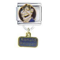 Italian Charms - president ronald reagan famous people italian charm bracelet dangle italian charm Image.