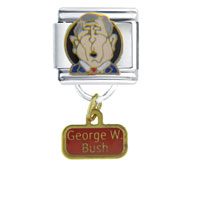 Italian Charms - president george w bush famous people italian charms dangle italian charm Image.