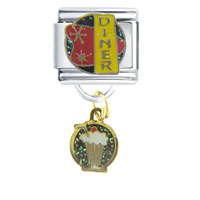 Italian Charms - 50 s diner work &  leisure italian charm bracelet dangle italian charm Image.