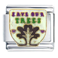 Italian Charms - save our christmas trees words & phrases italian charm bracelet Image.