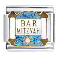 Italian Charms - bracelet bar mitzvah blue inspriational italian charm Image.