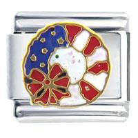 Italian Charms - usa patriotic wreath italian charm bracelet Image.