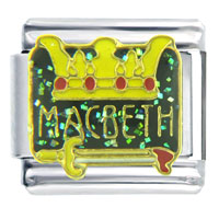 Italian Charms - crown sword macbeth &  phrases italian charm Image.