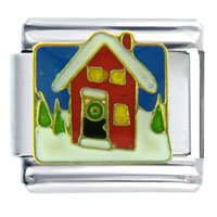Italian Charms - christmas gifts snowman house in winter italian charms Image.