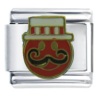 Italian Charms - happy face barbershop singer music italian charm Image.