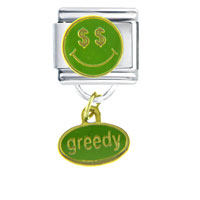 Italian Charms - happy face greedy dangle italian charms Image.