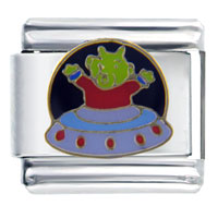 Italian Charms - flying saucer alien italian charms Image.