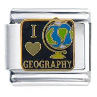Italian Charms - i heart geography italian charm bracelet Image.