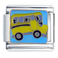 Italian Charms - yellow school bus italian charm Image.