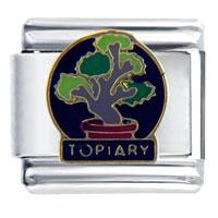 Italian Charms - bonsai topiary travel &  flags italian charm bracelet Image.