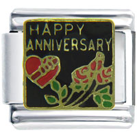 Italian Charms - happy anniversary rose wedding italian charm bracelet Image.